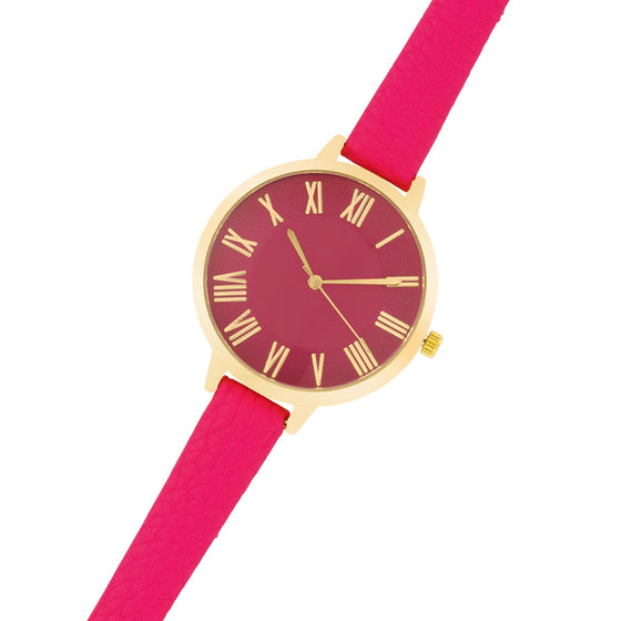 Gold Watch With Pink Leather Strap