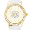 Gold Snowflake Crystal Watch With White Leather Strap