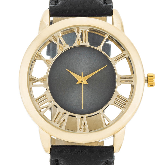 Cecelia Gold Boyfriend Watch With Black Leather Band