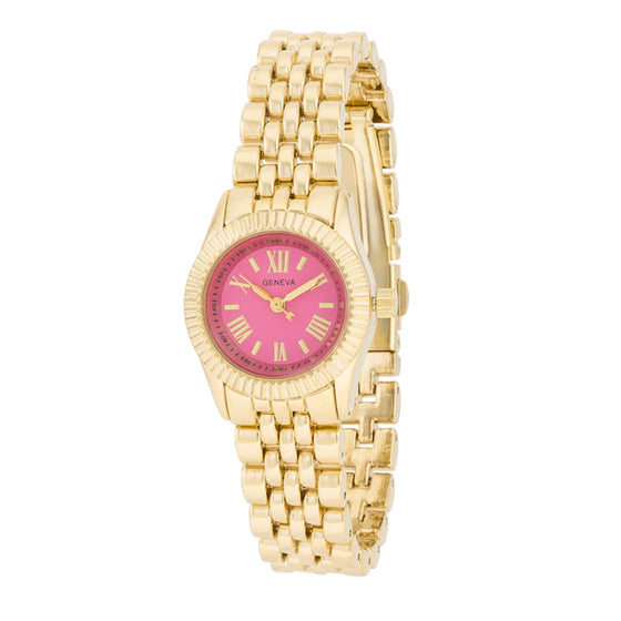Gold Link Watch With Pink Dial