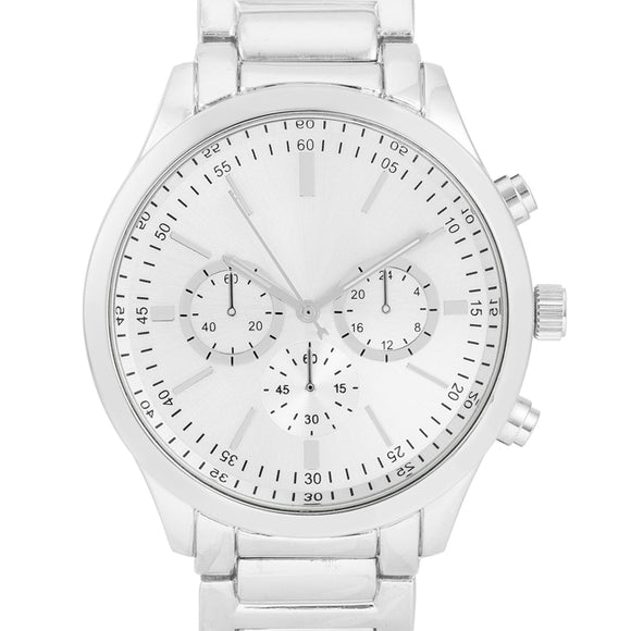 Chrono Silvertone Metal Watch