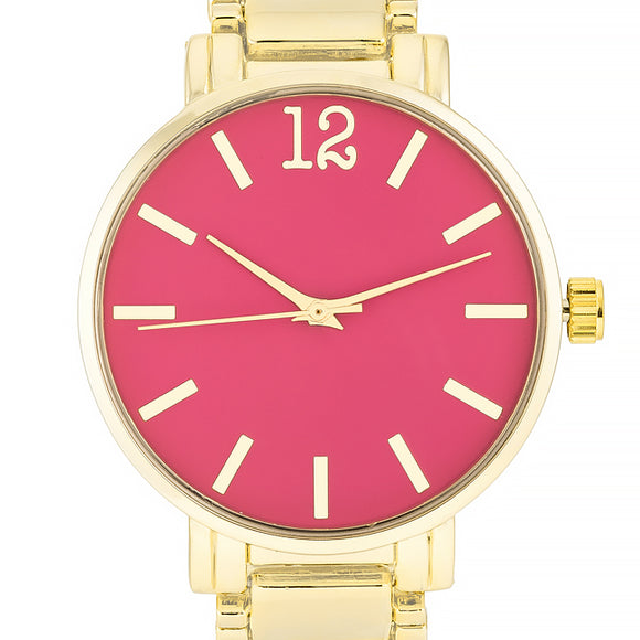 Gold Metal Watch - Pink