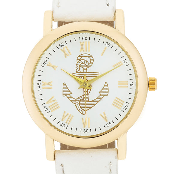 Natalie Gold Nautical Watch With White Leather Band