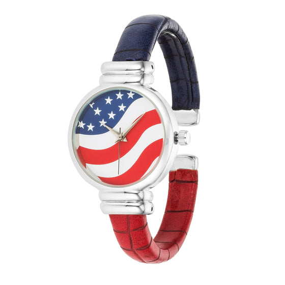 Patriotic Cuff Watch In Red, White, and Blue