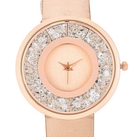 Gold Rose Leather Watch With Crystals