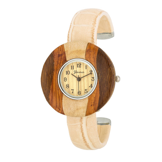 Brenna Beige Wood Inspired Leather Cuff Watch