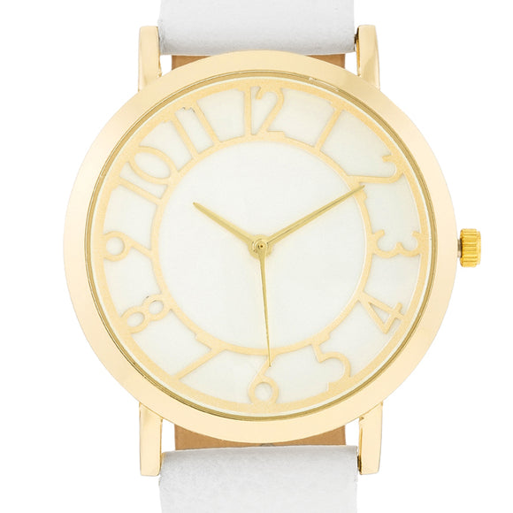 Gold Watch With White Leather Strap