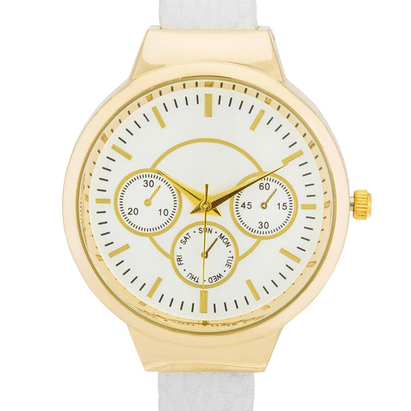 Reyna Gold White Leather Cuff Watch