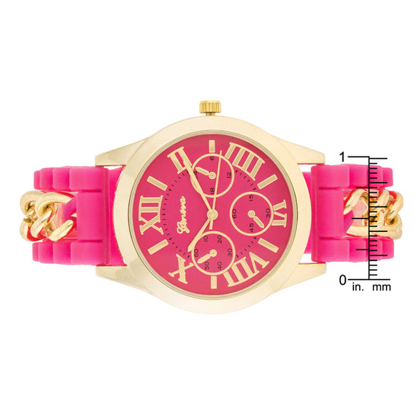 Gold Watch With Pink Rubber Strap