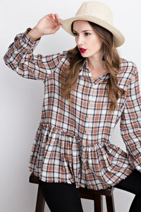 Devon Plaid Peplum Blouse
