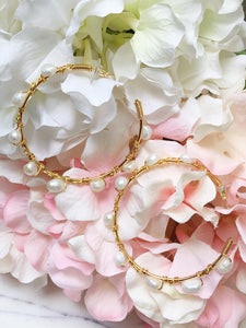 Margaux Pearl Hoops-Medium