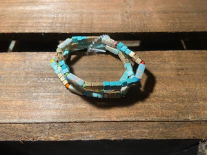 Turquoise and gold multi stretch beaded bracelet