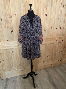 Dex Navy & Burgundy print peasant dress