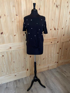 Generation Love Black Tie Front Top with Beaded applique