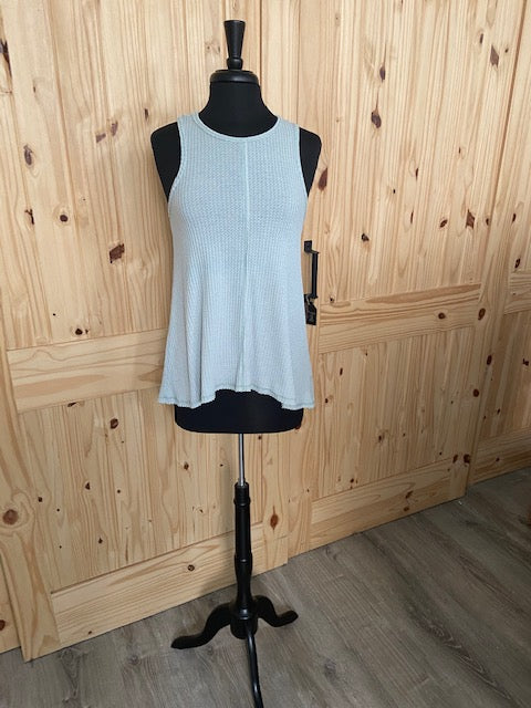 Others Follow Sage Green Waffle Knit Tank Top