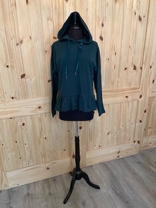 Others Follow Forest Green Peplum hooded sweatershirt with velvet ties