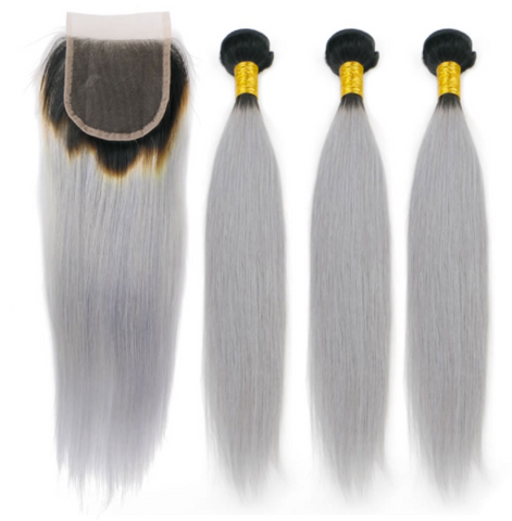 Ombre GREY Peruvian Straight
