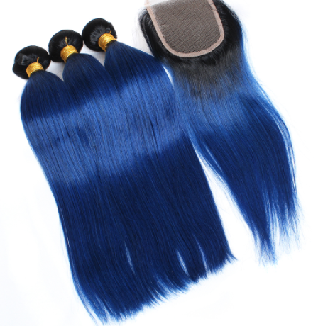 Ombre Blue Blissful Brazilian Straight