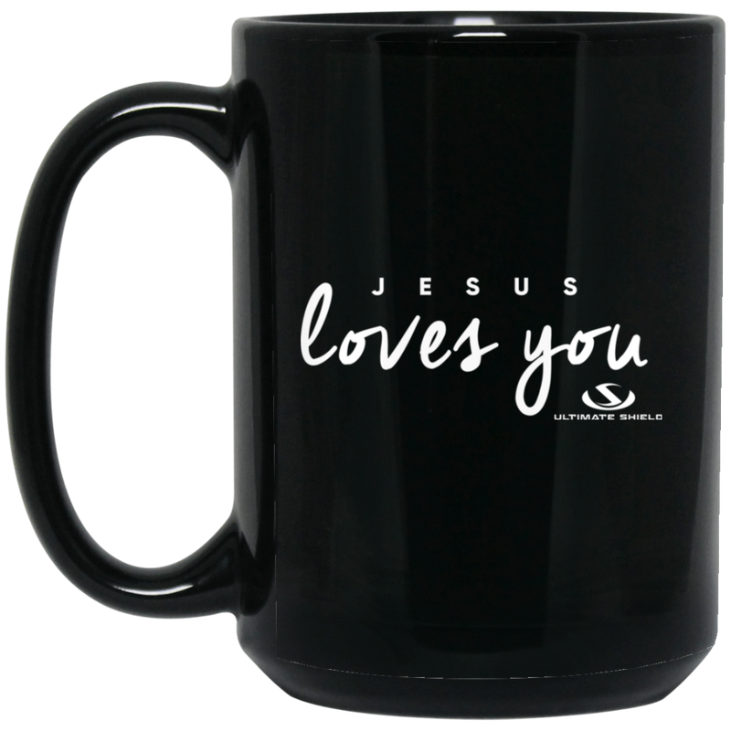 JESUS LOVES YOU 15 oz. Black Mug