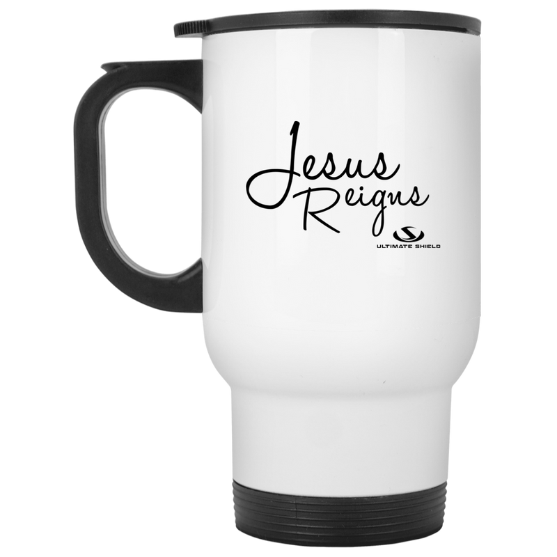 JESUS REIGNS White Travel Mug