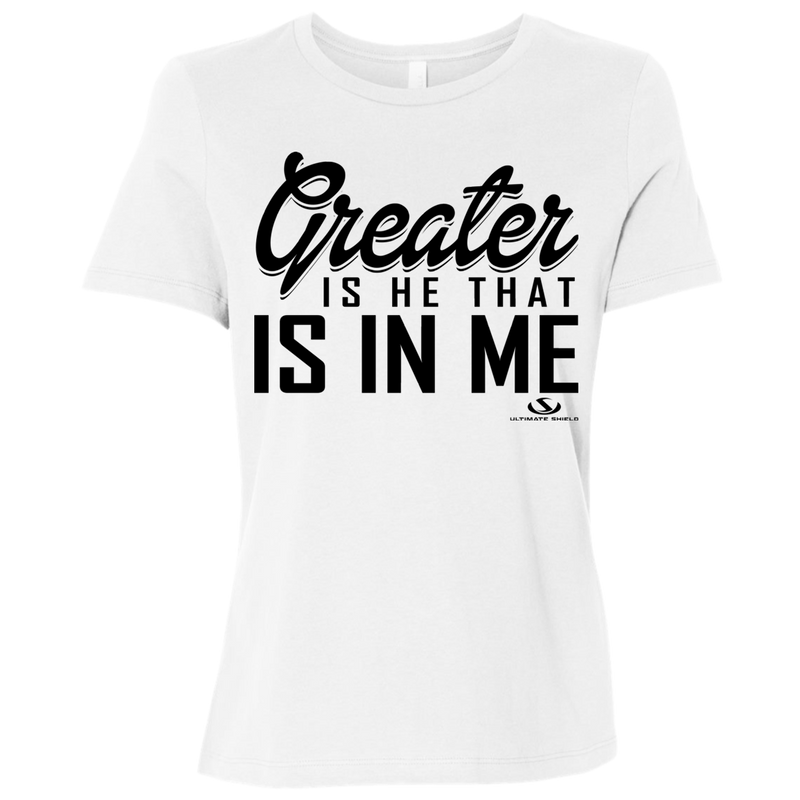 GREATER IS HE THAT IS IN ME Ladies' Relaxed Jersey Short-Sleeve T-Shirt