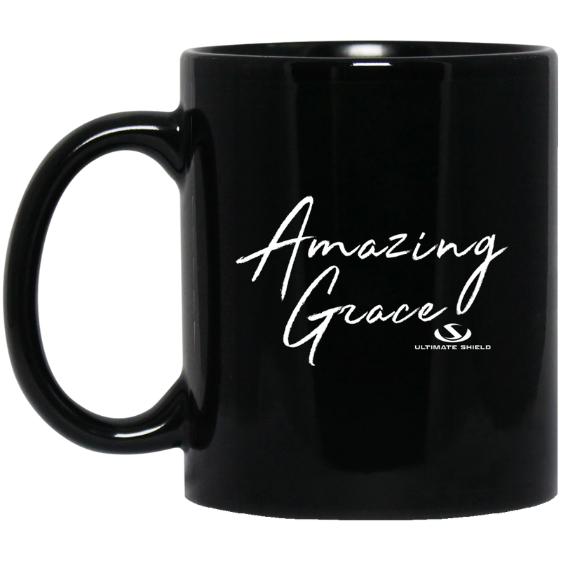 AMAZING GRACE WHITE GRAPHIC DESIGN 11 oz. Black Mug