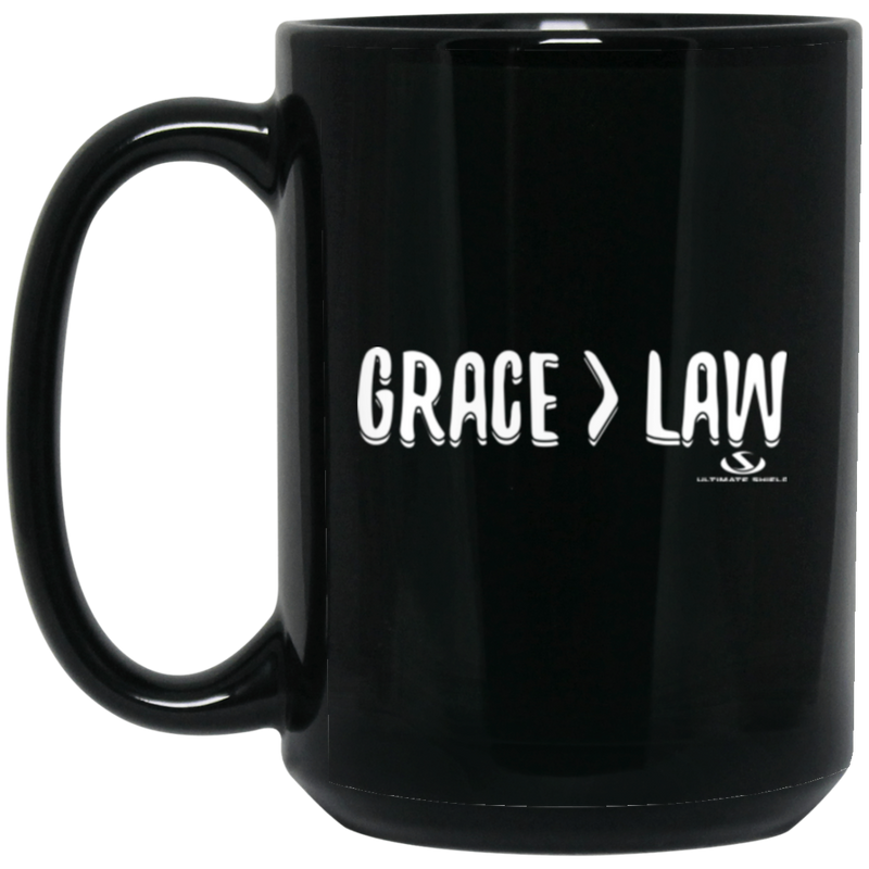 GRACE GREATER THAN THE LAW 15 oz. Black Mug