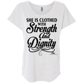 SHE IS CLOTHED WITH STRENGTH AND DIGNITY Ladies' Triblend Dolman Sleeve