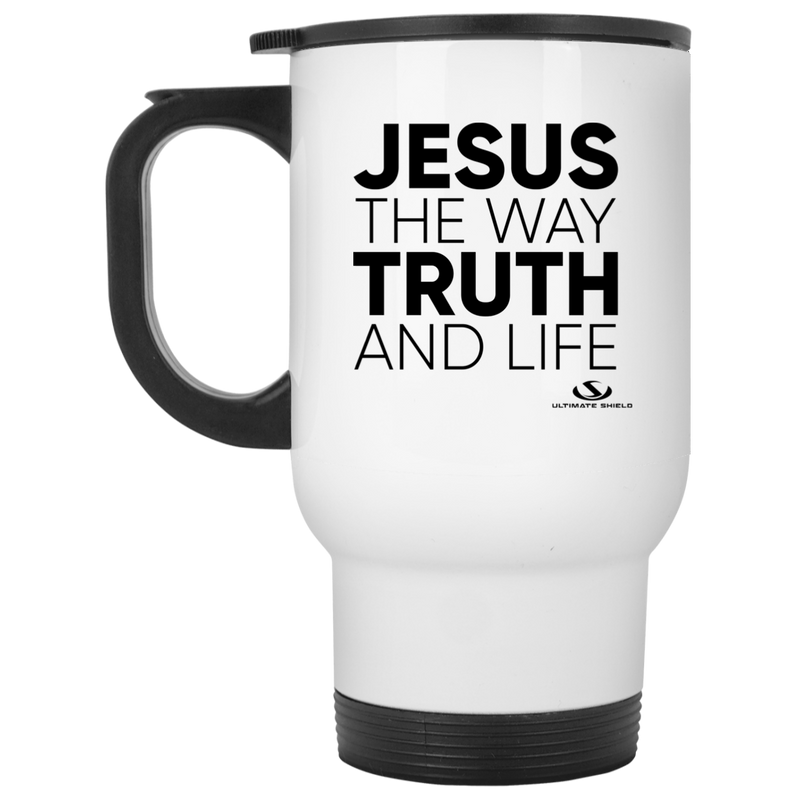JESUS THE WAY TRUTH AND LIFE White Travel Mug