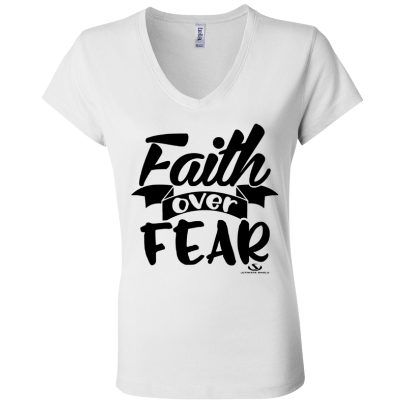 FAITH OVER FEAR Ladies' Jersey V-Neck T-Shirt