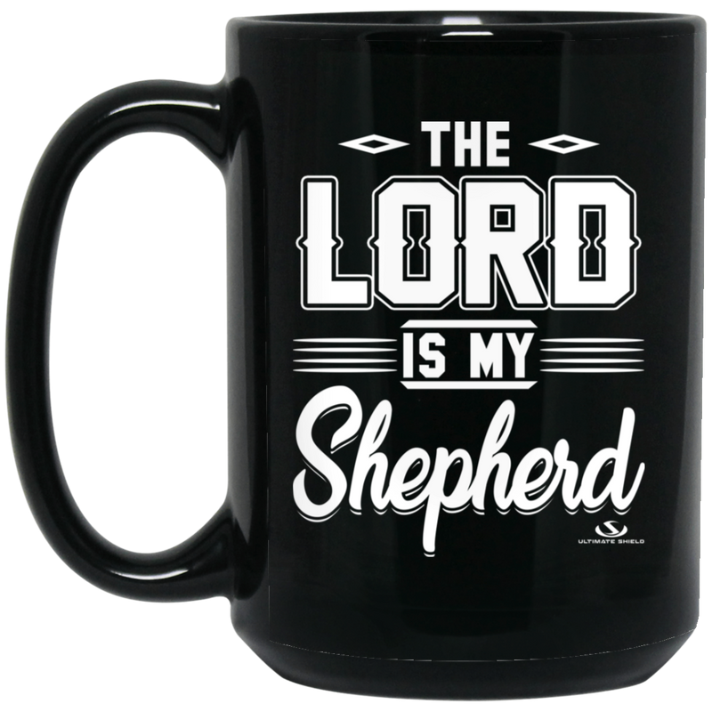 THE LORD IS MY SHEPHERD 15 oz. Black Mug