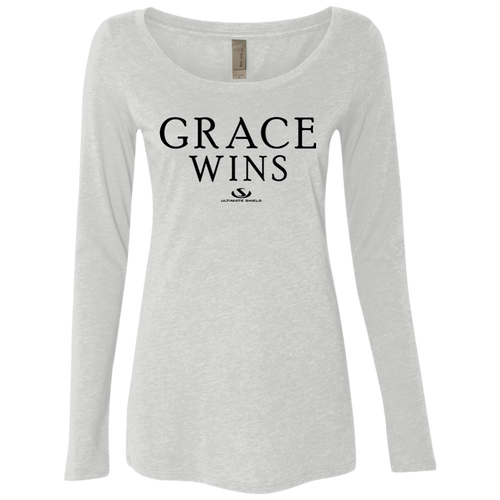 GRACE WINS Ladies' Triblend LS Scoop