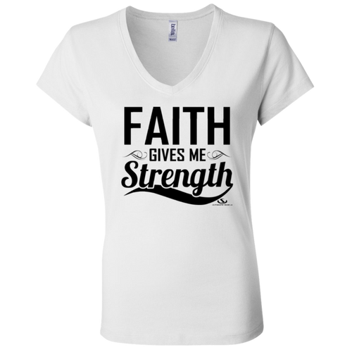 FAITH GIVES ME STRENGTH Ladies' Jersey V-Neck T-Shirt