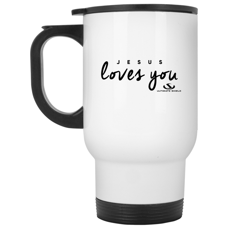 JESUS LOVES YOU White Travel Mug