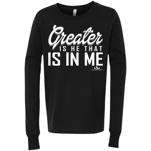 GREATER IS HE THAT IS IN ME Youth Jersey LS T-Shirt