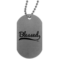 BLESSED  Silver Dog Tag