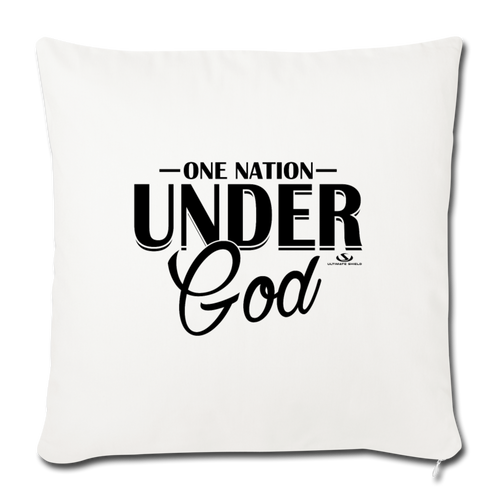"ONE NATION UNDER GOD Throw Pillow Cover 17.5"" x 17.5"" - natural white"
