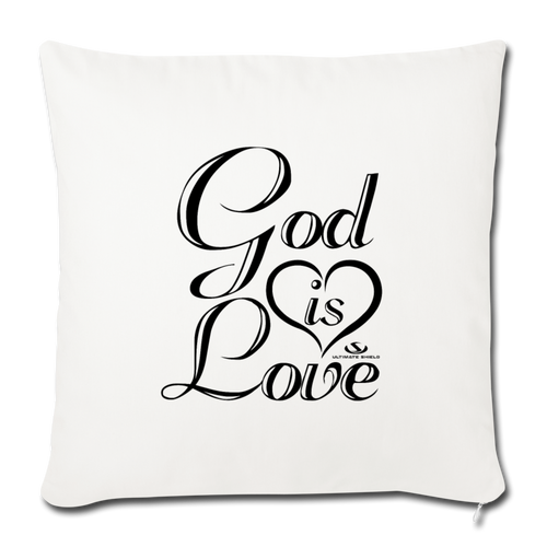 "GOD IS LOVE Throw Pillow Cover 17.5"" x 17.5"" - natural white"