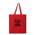 SHE IS CLOTHED WITH STRENGTH Tote Bag - red