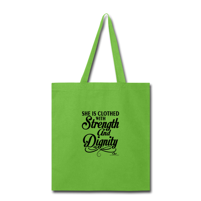 SHE IS CLOTHED WITH STRENGTH Tote Bag - lime green