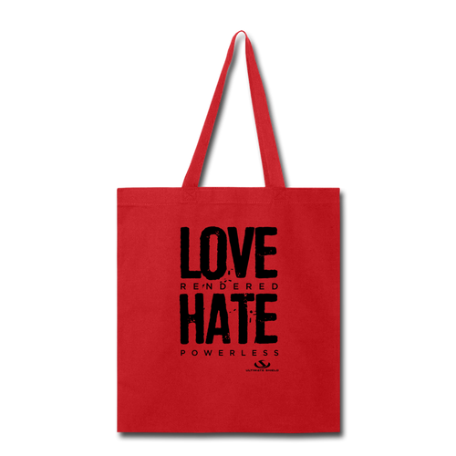 LOVE RENDERED HARE POWERLESS Tote Bag - red