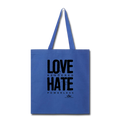 LOVE RENDERED HARE POWERLESS Tote Bag - royal blue