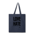 LOVE RENDERED HARE POWERLESS Tote Bag - navy