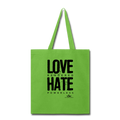 LOVE RENDERED HARE POWERLESS Tote Bag - lime green