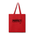MADE PERFECT THROUGH CHRIST Tote Bag - red