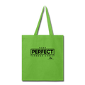 MADE PERFECT THROUGH CHRIST Tote Bag - lime green