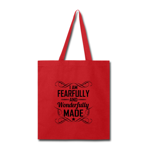 I AM FEARFULLY AND WONDERFULLY MADE Tote Bag - red