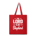 THE LORD IS MY SHEPHERD Tote Bag - red