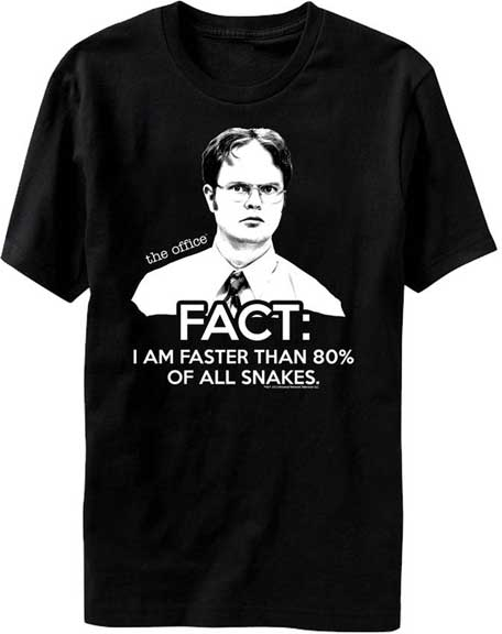 The Office DWIGHT SCHRUTE FACT I AM FASTER THAN 80% OF ALL SNAKES T-shirt