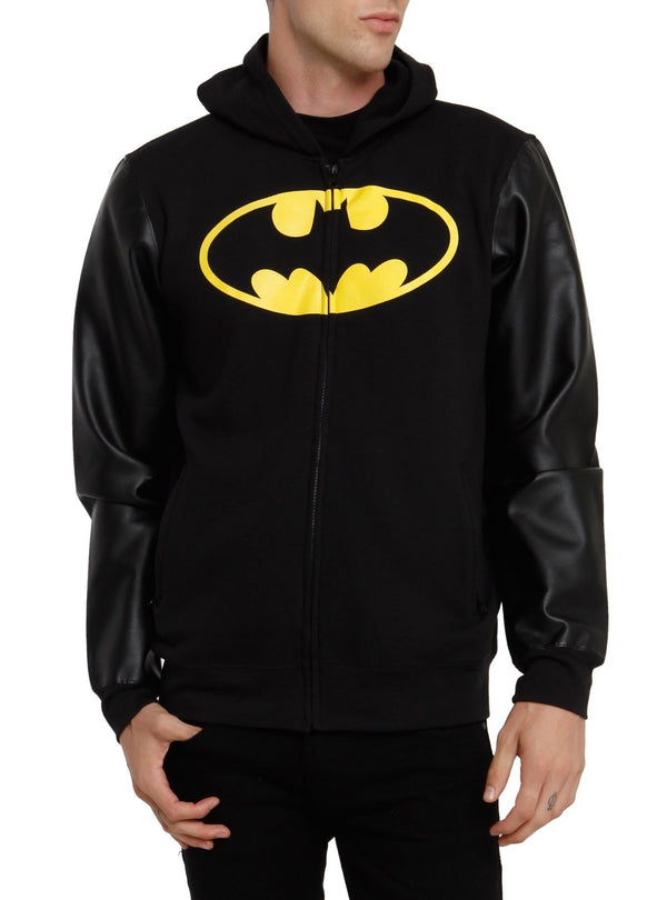Batman (DC Comics) Hoodie Batman Logo Faux Leather Sleeves